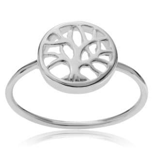 Journee Collection Sterling Silver Cut-out Tree of Life Ring