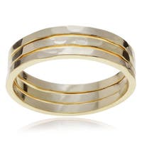 Journee Collection Sterling Silver Hammered Trio Ring Set