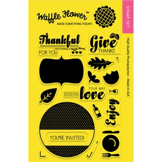 Waffle Flower Crafts Clear Stamps 4inX6inHoliday LabelsGive Thanks