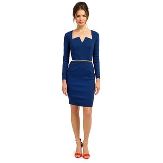 London Dress Company Women's Long Sleeve Bodycon Dress Featuring a Belt