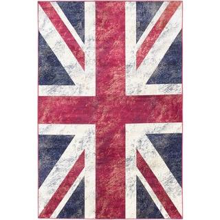 Ecarpetgallery Union Jack Navy Red White Flag Rug (5'1 x 7'7)