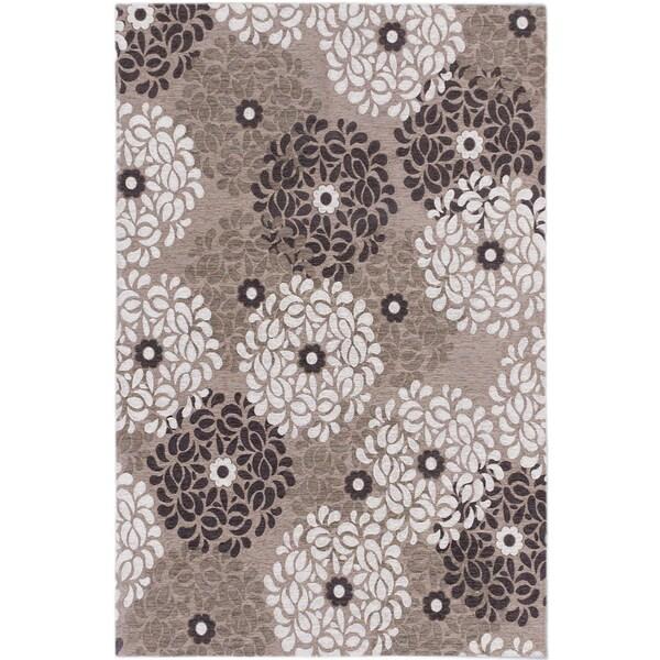 Ecarpetgallery Portico Dark Khaki Ivory Floral Rug 4 x 6