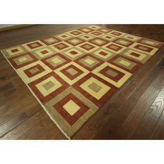 Ivory and Burgundy Double-knotted Gabbeh Wool Hand-knotted Area Rug (9' x 12', 9' x 10')