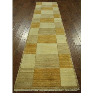 High KPSI Earth Tone Runner Super Gabbeh Hand-knotted Wool Area Rug (3' x 11')