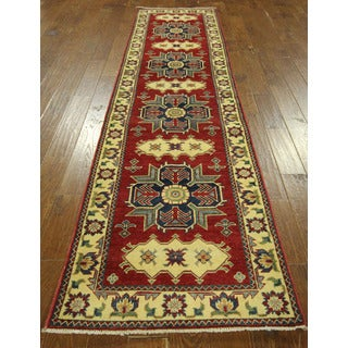 3x1Geometric Hand-knotted Runner Red Pakistani Super Kazak Wool Area Rug (3' x 11')