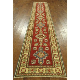 Elegant Red and Ivory Runner Super Kazak Hand-knotted Wool Area Rug (3' x 13', 10' x 10')