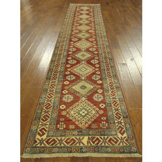 Geo-floral Diamond Motif Red Runner Super Kazak Hand-knotted Wool Rug (3' x 13')