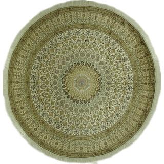Original Round Gumbad Design Silk Kashan Hand-knotted Ivory Rug (10', 10' x 10')