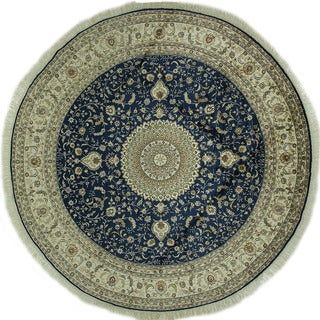 Amazing Rare Kashan Silk Round Floral Design Blue Hand-knotted Rug (9', 9' x 9')