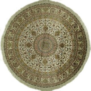 Hand-knotted Kashan Ivory Silk Round Floral Design Oriental Rug (9', 9' x 9')