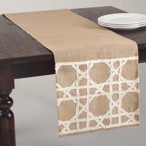 Fretwork Design Jute Table Runner