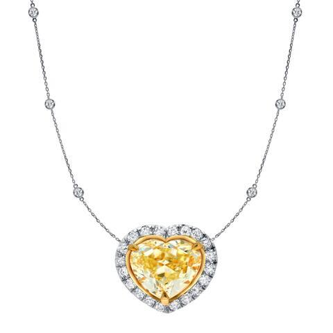 Auriya 14k Gold Fancy Heart Yellow Diamond Necklace 4ct TDW