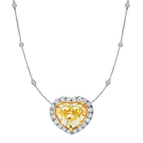 Auriya 14k Two-Tone Gold 4ct TDW Fancy Yellow Heart Shaped Diamond Halo Necklace