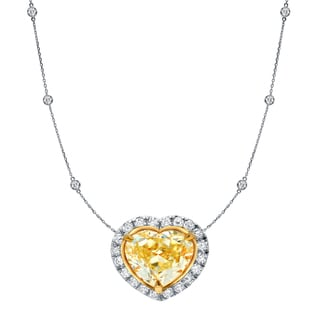 Auriya 14k Two-Tone Gold 4ct TDW Fancy Yellow Heart Shaped Pendant with Diamond-by-the Yard Necklace (H-I, SI1-SI2)