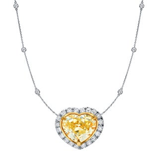 Auriya 14k Two-Tone Gold 4ct TDW Fancy Yellow Heart Shaped Diamond Halo Necklace