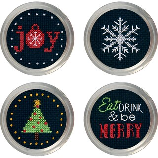 Holiday Cheer Jar Topper Counted Cross Stitch KitSet Of 4