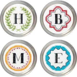Monogram Jar Topper Counted Cross Stitch KitSet Of 4