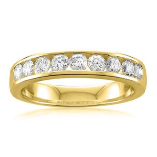 Montebello 14k Yellow Gold 3/4ct TDW Round-cut White Diamond Wedding Band