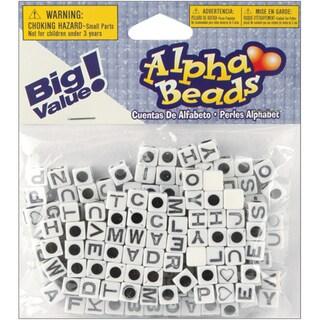 Alphabet Beads 6mm 160/PkgWhite W/Black Letters