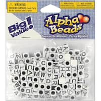 Alphabet Beads 6mm 160/PkgWhite W/Black Letters