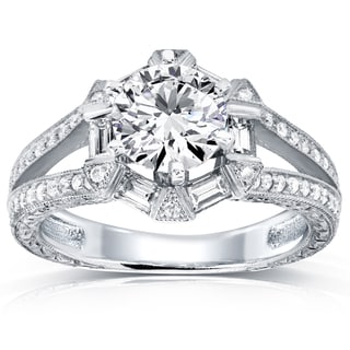 Annello by Kobelli 14k White Gold 1 1/2ct TDW Diamond Art Deco Open Shank Engagement Ring