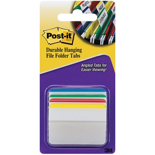 PostIt Durable Filing Tabs 2inX1.5in 24/PkgAssorted Primary Colors