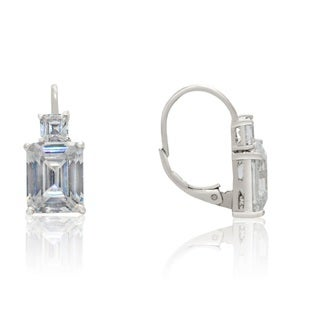 Gioelli Sterling Silver Cubic Zirconia Two Square Stones Leverback Earrings