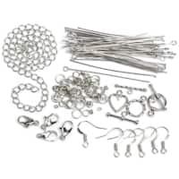 Jewelry Basics Metal Findings 134/PkgSilver Starter Pack