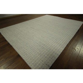 Geometric Ivory Handmade Flat Weave Hand-knotted Wool Area Rug (9' x 12')