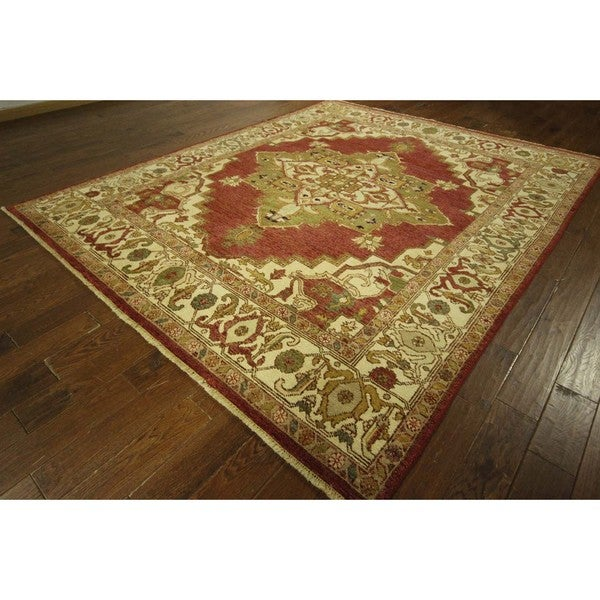 red hand knotted floral heriz serapi wool area rug 8 39 x 10 39 free shipping today overstock. Black Bedroom Furniture Sets. Home Design Ideas