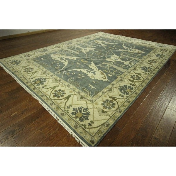 Shop Oriental Persian Design Teal Blue Oushak Hand-knotted
