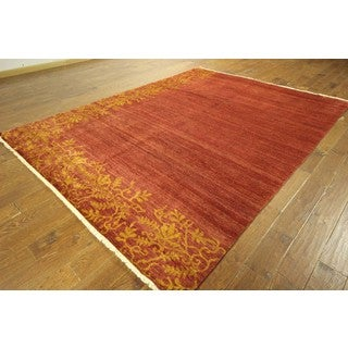 Sunset Orange Floral Border Gabbeh Hand-knotted Wool Area Rug (8' x 10')
