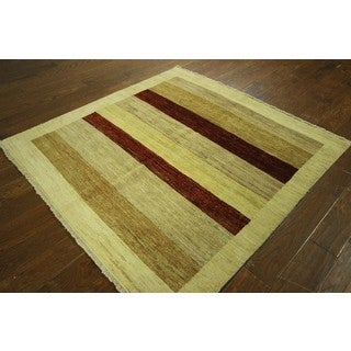 Ivory and Multi-colored Stripes Square Gabbeh Hand-knotted Wool Area Rug (5', 5' x 5')