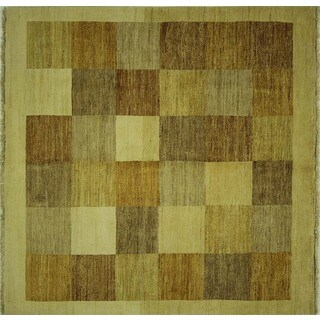 Ivory and Earth Tone Squares Square Gabbeh Hand-knotted Wool Area Rug (5' x 5')