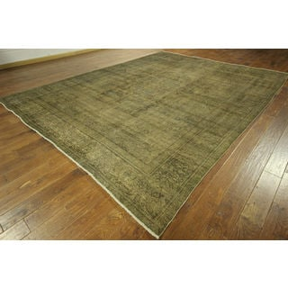 Overdyed Green-Biege Persian Design Hand-knotted Wool Area Rug (10' x 13')