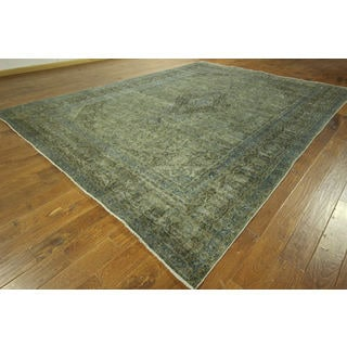 Vintage Floral Oriental Green Overdyed Hand-knotted Wool Area Rug (10' x 13')