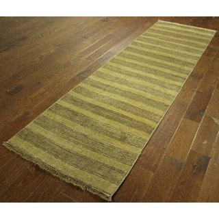Ivory and Brown Stripes Runner Gabbeh Hand-knotted Wool Area Rug (3' x 9')