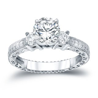 Auriya 14k White Gold 3/4ct TDW Round-cut Diamond Engagement Ring (H-I, SI2-SI3)