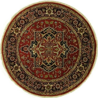 Round Medallion Red and Navy Blue Heriz Serapi Hand-knotted Wool Area Rug (6', 6' x 6')