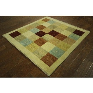 Mutlicolor Checked Square Gabbeh Hand-knotted Wool Area Rug (5', 5' x 5')