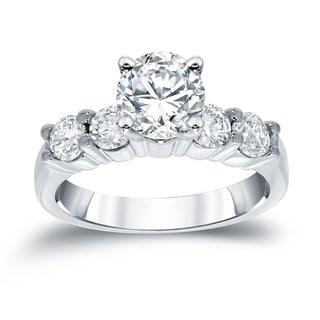 Auriya 14k White Gold 1 1/2ct TDW Round Cut Diamond 5 Stone Engagement Ring (H-I, SI1-SI2)