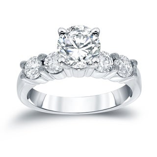 Auriya 14k White Gold 1 1/2ct TDW Round 5-Stone Diamond Engagement Ring
