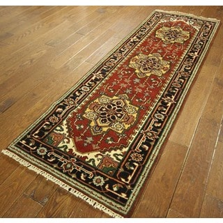 Mesa Collection Heriz Serapi Red Floral Wool Hand-knotted Area Rug (3' x 8')