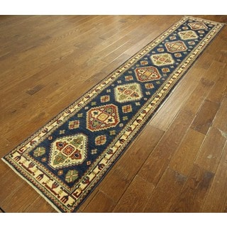 Authentic Blue Super Kazak Hand-knotted Oriental Wool Area Rug (2' x 10')