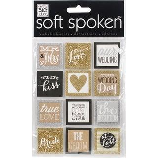 Soft Spoken Themed EmbellishmentsSquares Gold Love