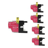 Brother LC75 M Compatible Inkjet Cartridge for DWMFCAN-J6710 DWMFCAN-J6910 DWMFCAN-J825 DWMFCAN-J835DW (Pack of 5)