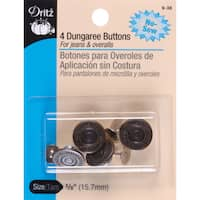NoSew Dungaree Buttons 5/8in 4/PkgAntique Brass