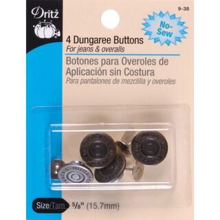 NoSew Dungaree Buttons 5/8in 4/PkgAntique Brass