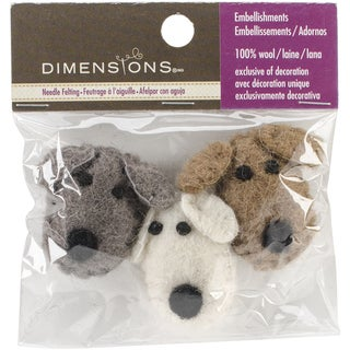 Feltworks Dog Heads3/Pkg