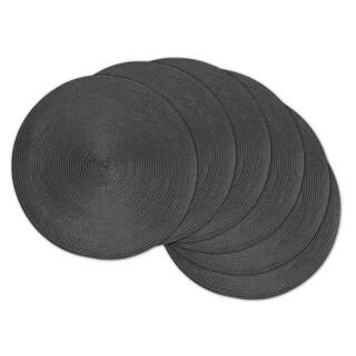 Indoor/ Outdoor Round Woven Metallic Placemat Set of 6
